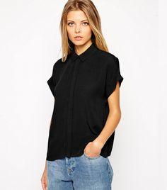 ASOS Crinkle Grown on Sleeve Blouse in Black