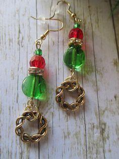 Green Xmas Earrings Red Xmas Earrings Bronze by BrownBeaverBeadery