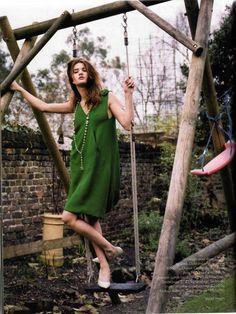 Rosie Huntington-Whiteley by Valerie Phillips for Elle UK (April 2006). Giles dress.