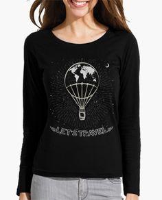 """FLIP DISEÑOS ORIGINALES. Camiseta manga larga """"Let`s travel"""": Viaja en globo aerostático por el mundo real o un mundo imaginario. Vuela con este diseño original FLIP, inspirado en un grabado antiguo y en los sueños de descubrimientos y aventura que acompañan a la humanidad desde siempre Tienda online: https://www.latostadora.com/Flip_Original_Designs  FLIP ORIGINAL DESIGNS. long sleeve shirt """"Let's travel"""". Travel in hot air balloon for the real world or an imaginary world. Fly with this…"""