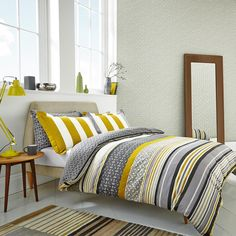 Lace Stripe Bed Linen | Luxury Grey Striped Bedding by Scion at Bedeck Home