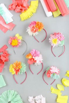 Paper Flower Headband. For your princess' kiddie party. These headbands are the cutest! Awwee.