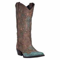 Women's Laredo Boots in stunning brown & turquoise with cross & stud details