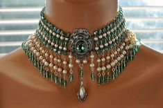 Bridal Jewelry Bridal Choker wedding Necklaces for women Crystal Choker, Beaded Choker, Beaded Jewelry, Jewelry Necklaces, Chain Bracelets, Jewellery Earrings, Colar Fashion, Fashion Jewelry, Gothic Fashion