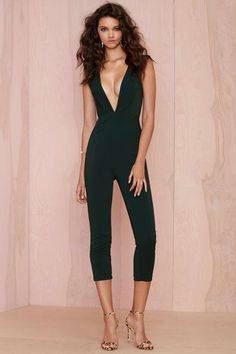 Nasty Gal On the Hunt Plunging Jumpsuit - $88