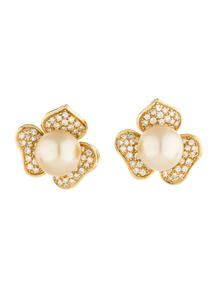 1.25ctw Diamond and South Sea Pearl Earrings
