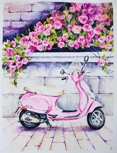 Vespas in watercolor - Elena Moroz on Behance - Pencil Art Drawings, Art Drawings Sketches, Cute Drawings, Watercolor Flowers, Watercolor Paintings, Watercolour, Painting & Drawing, Camera Painting, Art Projects