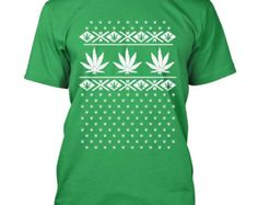 Pot leaf T-shirt ugly Christmas sweater mock weed print funny Tee Shirts S-3XL