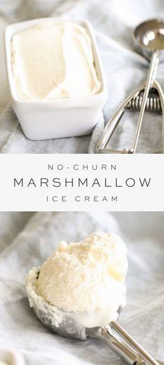 Creamy Marshmallow Ice Cream recipe made with just 3 ingredients, in minutes. Ice Cream Desserts, Köstliche Desserts, Frozen Desserts, Ice Cream Recipes, Frozen Treats, Dessert Recipes, Simple Ice Cream Recipe, Custard Ice Cream Recipe, Sweet Cream Ice Cream