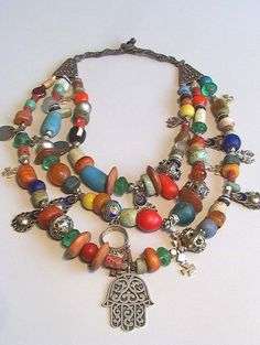 Berber necklace with old amber, coral & amazonite, Morocco