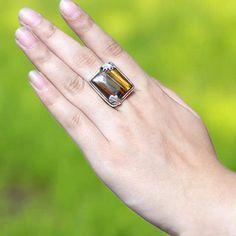 Tiger Eye Gemstone Ring Designer Ring Unisex Ring Handmade