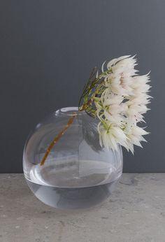Ball vase by Samuji. My next must have flower vase. My Flower, Flower Vases, Flower Power, Cut Flowers, Fresh Flowers, White Flowers, Ikebana, Clear Glass, Glass Art