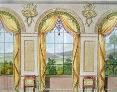 Ackermann, 1816 Yellow, green and plum/violet Regency design dining room curtains. Regency Furniture, Dining Room Curtains, Regency Era, Regency House, Classic Interior, Canvas Prints, Art Prints, Victorian Homes, Decoration