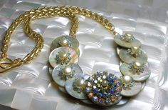 Mother of Pearl Necklace Button Necklace by ElsaWadesJewelry