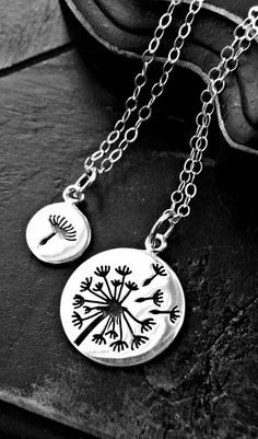 Mother Daughter Dandelion Necklace Set  Mother by yourcharmedlife