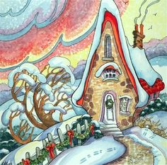 "Daily Paintworks - ""Rosy Winter Dawn Storybook Cottage Series"" - Original Fine Art for Sale - :copyright: Alida Akers"