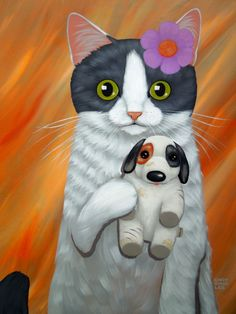 Diamond Painting Black and White Cat and Puppet Dog Paint with Diamonds Art Crystal Craft Decor I Love Cats, Crazy Cats, Cool Cats, Illustrations, Illustration Art, Frida Art, Cute Cat Drawing, Cat Colors, Dog Paintings