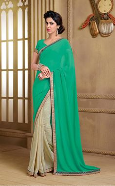 165155 Beige and Brown, Green color family Party Wear Sarees, Printed Sarees in Faux Georgette fabric with Border, Printed, Stone work with matching unstitched blouse. Georgette Fabric, Georgette Sarees, Indian Dresses, Indian Outfits, Suits For Women, Clothes For Women, Indian Clothes Online, Latest Sarees, Yellow Fashion