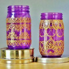 Violet Glass Mason Jar Lantern with Gold Henna Style by LITdecor