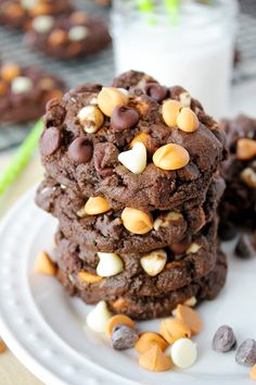 So soft, so chewy, so chocolatey! Chocolate cookies stuffed to the max with flavor, thanks to your three favorite types of baking chips! Sunnysideups.org