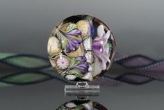 Unbelievable1 Lampwork focal bead handmade glass floral by nimbusglasscreations, $35.00