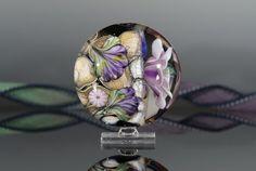 Unbelievable1 Lampwork focal bead handmade glass floral by nimbusglasscreations, $35.00