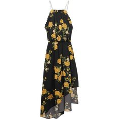 Magda Butrym Bergen asymmetric ruffled floral-print silk dress (€1.390) ❤ liked on Polyvore featuring dresses, vestidos, travel dresses, strappy dress, yellow ruffle dress, floral print dress and midi dress