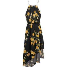 Magda Butrym Bergen asymmetric ruffled floral-print silk dress ($750) ❤ liked on Polyvore featuring dresses, vestidos, black, ruffle midi dress, yellow midi dress, travel dresses, floral midi dress and vintage style dresses