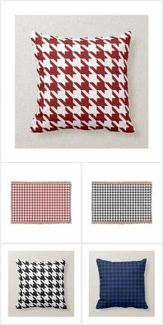 Houndstooth, Blue Denim, Collections, Beige, Throw Pillows, Blanket, Pattern, Pink, Products