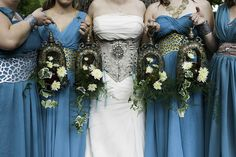Inspired by Renaissance fairs and Game of Thrones, this fabulously-costumed wedding featured flowers in the bride's hair, tons of themed glassware favors, handmade doublets and garb...