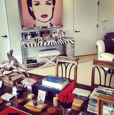 Carolina Herrera's Office: The fashion designer's desk stacked with objects is the opposite of cluttered.