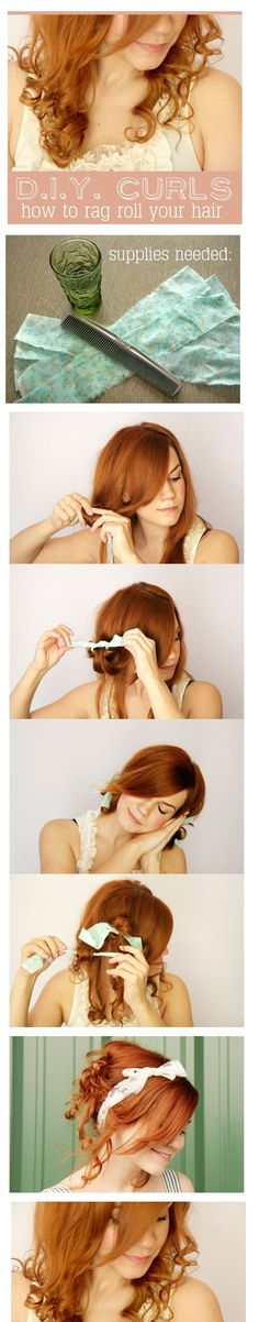 How to rag curl your hair- First, dampen the bottom of your hair (the part you plan to roll) using a spray bottle. Next, separate a section of hair and twist it around one strip of fabric. Then, tie the fabric strip in place and repeat until the entire bottom section of your hair is rolled. After that, all you have to do is sleep on your rag rolls and remove them in the morning for pretty curls!