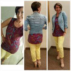 I'm loving the CAbi Jeanie Jacket with the Palm Grass Tank and the Coast Crops! Uber - flattering! #tigerlilylifestyle #cabiclothing #bestjobever