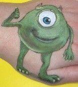 DIY Mike Witkowski Face Paint #DIY #CheekArt #Disney #MonstersInc #FacePainting #Birthdays #Birthday #Parties #Party