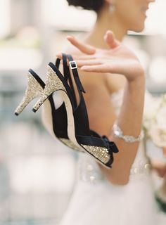 Pin for Later: 31 Gorgeous Ideas For Your Wedding Shoes Darker glamour Throw 'em a curveball with glittering heels worthy of a black-tie wedding. Photo by Caroline Tran via Style Me Pretty Sparkly Wedding Shoes, Black Tie Wedding, Wedding Heels, Gold Wedding, Wedding Sneakers, Bridal Heels, Peep Toes, Glitter Heels, Sparkle Heels