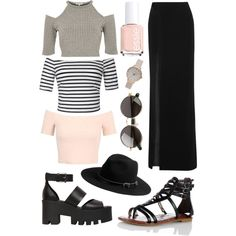 maxi skirt by melissa-casu on Polyvore featuring polyvore, mode, style, River Island, Ally Fashion, Miss Selfridge, Thierry Mugler, Windsor Smith, Olivia Burton, Michael Stars, The Row and Essie