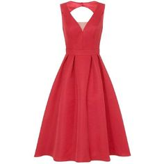 **Chi Chi London Red Mesh Insert Midi Dress (£87) ❤ liked on Polyvore featuring dresses, red, mid calf dresses, mesh insert dress, calf length dresses, midi dress and red day dress