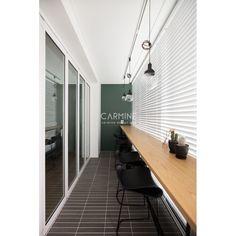 아파트·주택 인테리어 디자인, 카민디자인 정보 포트폴리오 제공 Interior Balcony, Balcony Design, Interior Garden, Apartment Interior Design, Veranda Interiors, Office Interiors, Industrial Office Design, Wall Seating, Happy House