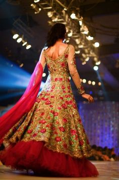 Unique fusion lehenga: gown-type top with lehenga skirt. Rose pattern.