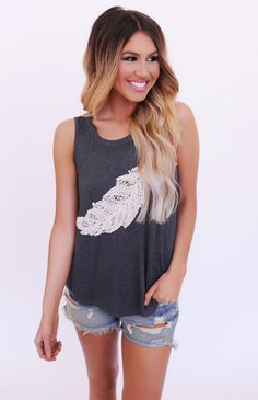 Charcoal Embroidered Feather Tank - Dottie Couture Boutique