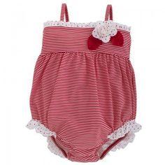Kate Mack - Biscotti Babies Red & White Stripe Swimsuit | AlexandAlexa #baby #swimsuit