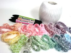 Hello folks! I spent a good part of the afternoon making beautiful bakers twine with plain cottonthread (#10 crochet cotton) and my ProMarkers. Check it out, it looks like the real deal, no? I fou…
