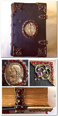 1610 copy of Lustgartlein is beautifully bound in contemporary black Moroccan leather and boasts 187 garnets and 8 amethysts.