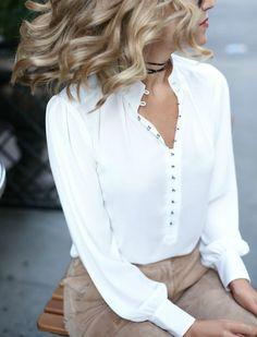 La blusa blanca, versátil y elegante; 40 modelos y estilos - Mujer Chic