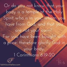 Or do you not know that your body is a temple of the Holy Spirit who is in you whom you have from God and that you are not your own? 1 Corinthians 6:19-20 . . God doesn't just own our money or other resources but in redeeming us with His blood Christ bought us and now owns us (and is a faithful & loving master and friend). Our goal in life is to please and glorify God in everything that we do...from how we manage His money to how we treat others! . . . . #devotion #devotional #devotions…