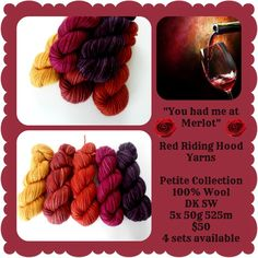 """You Had Me At Merlot Petite Collection - """"Pick Your Poison"""" Triptych Stocking Yellow And Brown, Orange Yellow, Pick Your Poison, Ribbon Yarn, Triptych, Red Riding Hood, Yarns, Raspberry, Stockings"""
