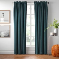Solid Blackout Rod Pocket Single Curtain Panel Curtain Color: Marine, Size per Panel: x White Headboard, Brown Curtains Living Room, Drapes Curtains, Ottoman Slipcover, Curtains, Panel Curtains, Decorative Pillows, Area Rug Decor, Grommet Curtains