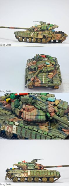 Trumpeter T-64BV Ukrainian Army, Donbass Conflict Trumpeter base kit that was modified to simulate wear and tear and also to show battle damages on the Kontakt reactive armor bricks. I based it on a T-64BV with a 'MISHKA' graffiti that is in action in the Donbass. Painted with a laquer base then chipped with a hairspray and sponge technique. Acrylic paints are from Ammo of Mig Ukraine ATO set, which I say is a very good paint set! Graffiti are from handbrushed Vallejo flat white. Oil paint…