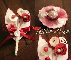 Trilli e Gingilli - Le creazioni di Sara: Bouquet bianco e bordeaux con set di accessori coordinati