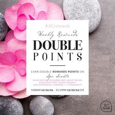 This week's Double Point scents are spa inspired! Choose from Clean Cotton Cucumber Mint Day at the Spa Eucalyptus Mint Island Coconut Kiwi Lemongrass Lavender and Tranquility.  jicbyjulie.com  #jicbyjulie #doublepoints #rewards #spa #cotton #cucumber #eucalyptus #coconut #kiwi #lemongrass #lavender #tranquility
